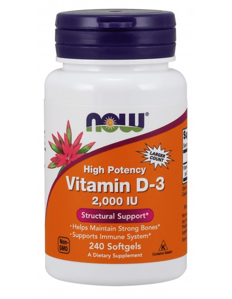 ВИТАМИН Д3 NOW VITAMIN D3 2000 IU 240 КАПСУЛ